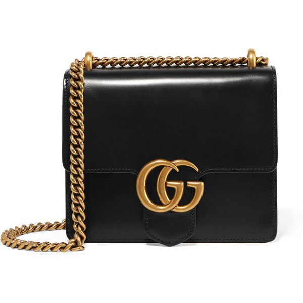 Gucci GG Marmont mini leather shoulder bag (100,955 INR) ❤ liked on Polyvore featuring bags, handbags, shoulder bags, gucci, black, cell phone shoulder bag, gucci purses, gucci handbags, mini handbags and leather handbags