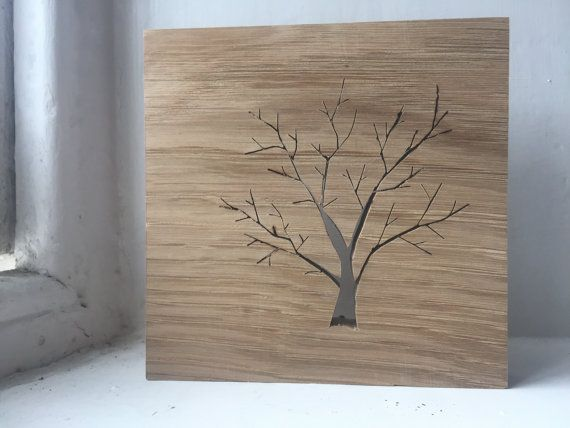 Wooden Oak Tree Silhouette by TheHairyScroller on Etsy