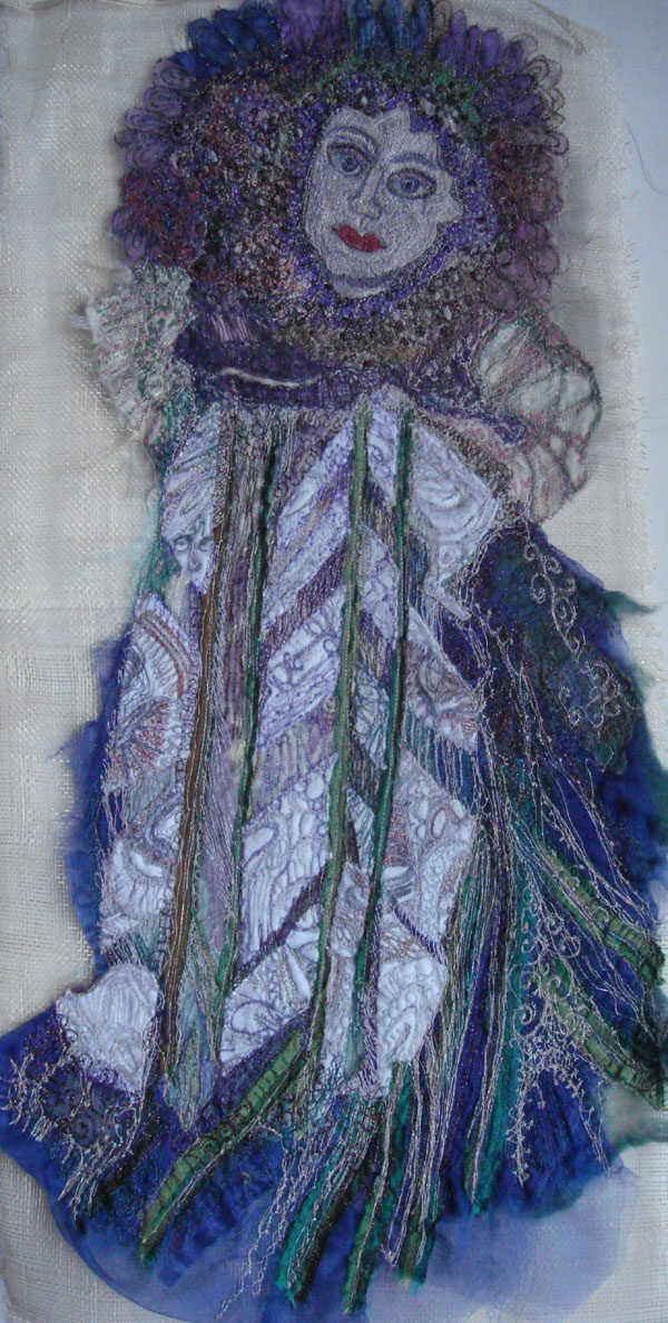 Standing lady....This piece was chosen to go to Cardiff to the embroiderers guild exhibition and it was featured on the Welsh BBC news on Tuesday night....much to my suprise!