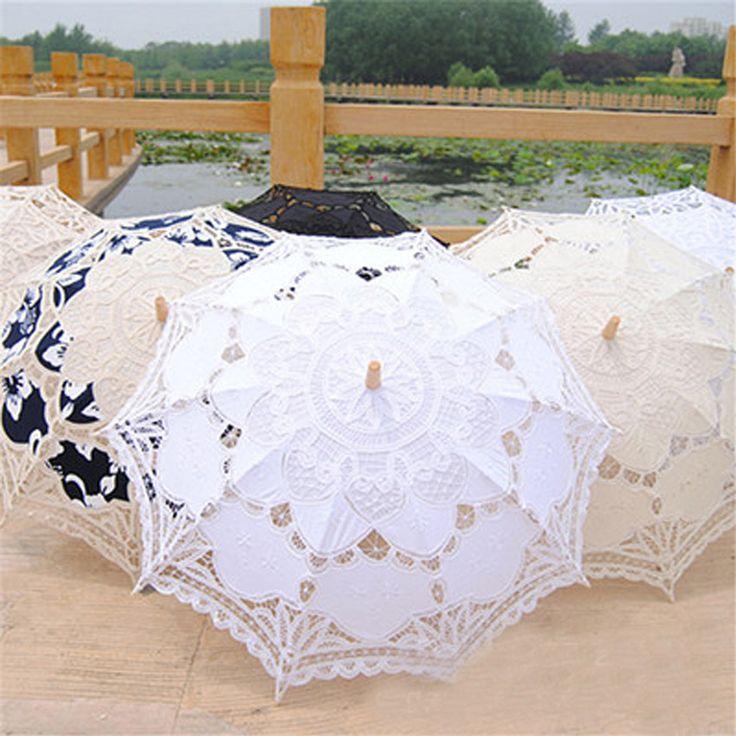 Старинные кружева вышивки зонтик выдолбите Battenburg свадебный зонтик высокое качество деревянной ручкой зонт свадебные украшения BU-002(China (Mainland))