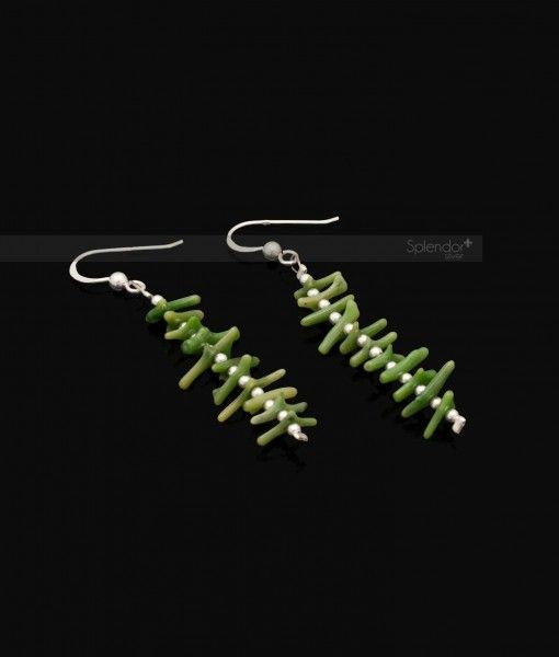 Coral drop earrings in two colors green and yellow with sterling silver beads and hook. #earrings #coral #drop #sterling #silver #australia #jewellery #splendorsilver