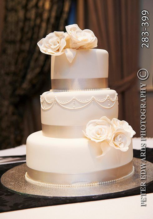 simple, elegant wedding cake. Add some jewels and this would be perfect! Wedding cake idea