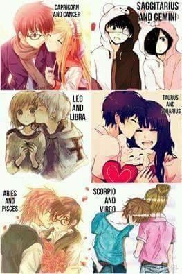 Signs as cute anime couples ((Gemini ♊ >w< I need to find my Sagittarius ♐ ))