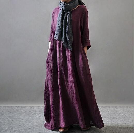 Cheap maxi dress, Buy Quality long maxi dress directly from China neck dress Suppliers: 2017 Women Elegant Loose Full Sleeve V Neck Dress Cotton Linen Boho Long Maxi Dress Vestidos Plus Size L-  4XL 5XL casual dress