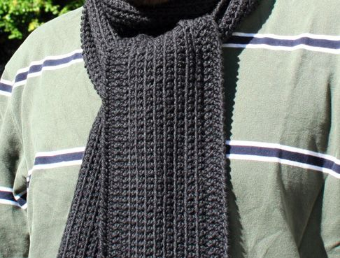 Mens Knit Scarf Pattern Easy : Dans Minimalist Scarf-by HookedUp A perfect scarf for the minimalist man or w...