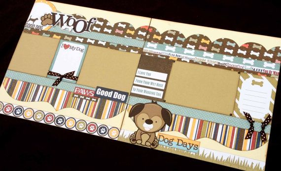 """12x12 Scrapbook Page Dog or Puppy Themed Kit . DIY Kit or Pre-Made Double Page Layout. Echo Park """"Woof"""""""