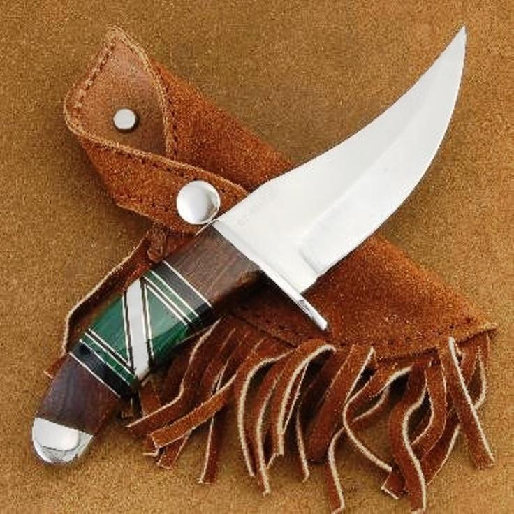 Navajo handcrafted malachite knife with sheath