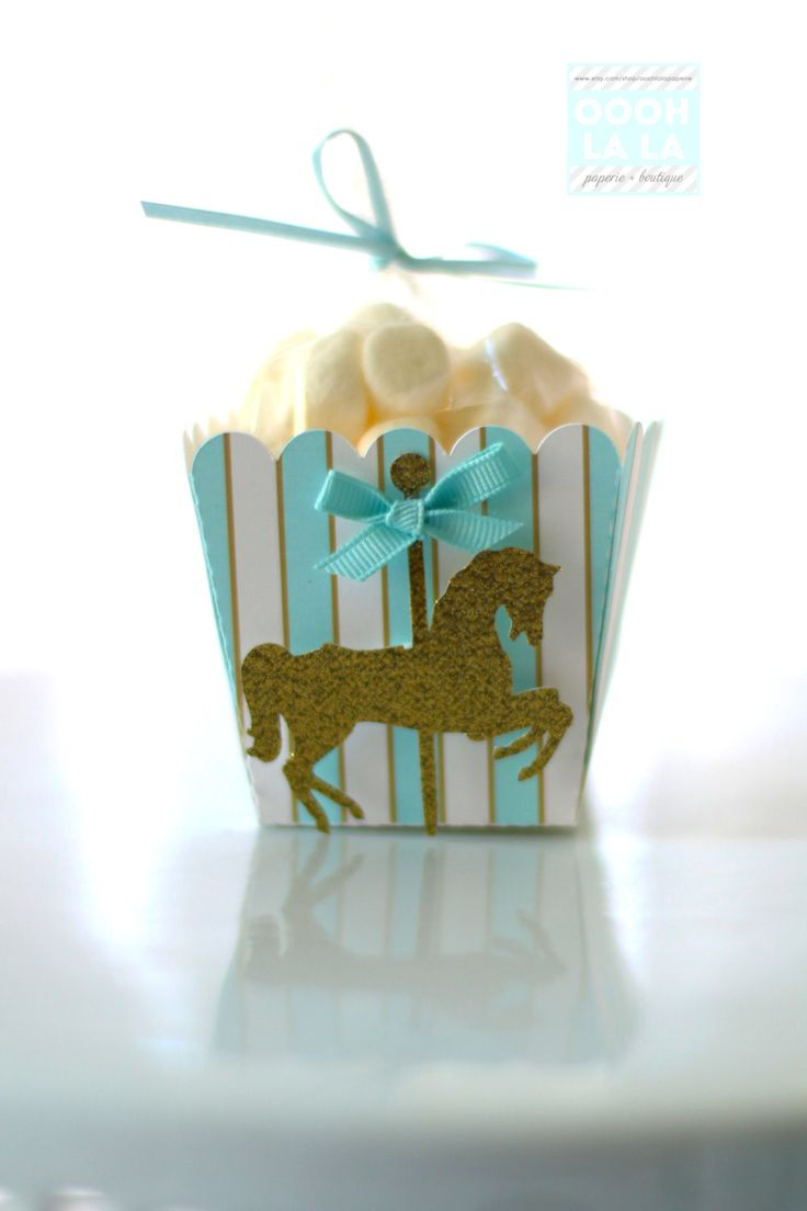 Merry Go Round/Carousel themed Mini Popcorn Favor Boxes- sets of 6 or 12- many colors available by ooohlalapaperie on Etsy