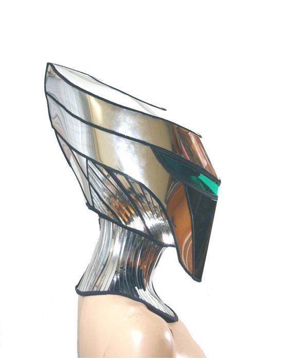 2 piece alien cyborg mask headpiece robot armor sci fi  futuristic steampunk cyber headdress cybergoth divamp couture