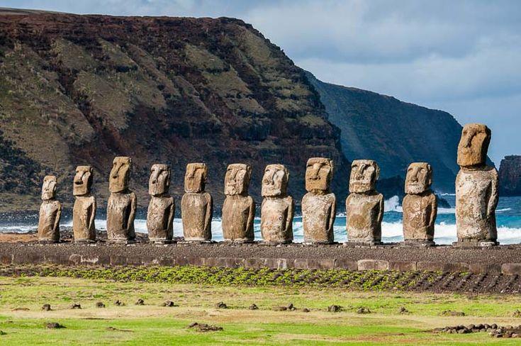 Row of Moai statues