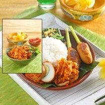 Nasi bali yang lengkap dengan karbohidrat, protein dan serat tersaji lengkap dalam satu sajian.