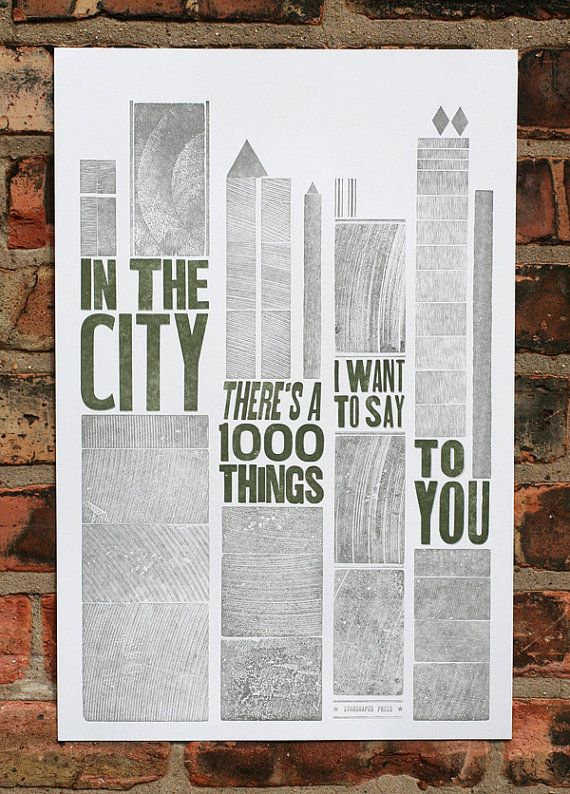 In The City letterpress poster by starshapedpress on Etsy, $20.00