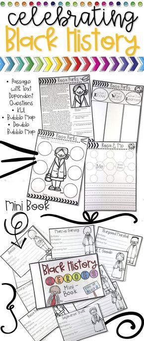 Black History Month Activities for Kids in 2nd grade, 3rd grade, 4th grade, and 5th grade. This engaging printable pack includes black history biography passages, black history mini book, and black history center activity.