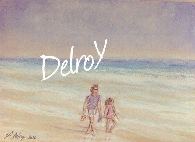 """DelroY pastel """"padre pasea con hija a la orilla del mar"""""""