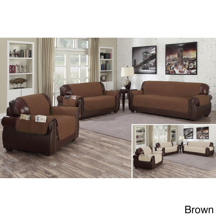 Duck River Quick Fit Liza Collection Quilted Reversible Waterproof Sofa Protector With Pockets (