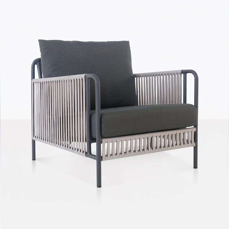 The Fontana Outdoor Rope Club Chair boasts a powder coated steel frame in a swanky graphite color, which is then woven with an outdoor rope and dressed with Sunbrella® cushions – free with purchase!