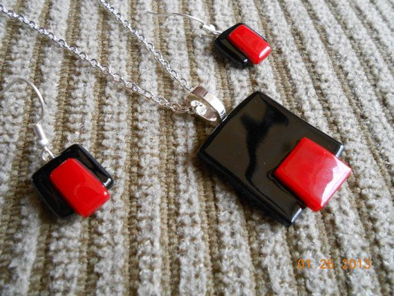 Black and Red Contemporary Fused Glass Necklace and Earrings
