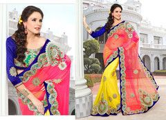 Party Wear  Embroidered Georgette Dupion Saree 108
