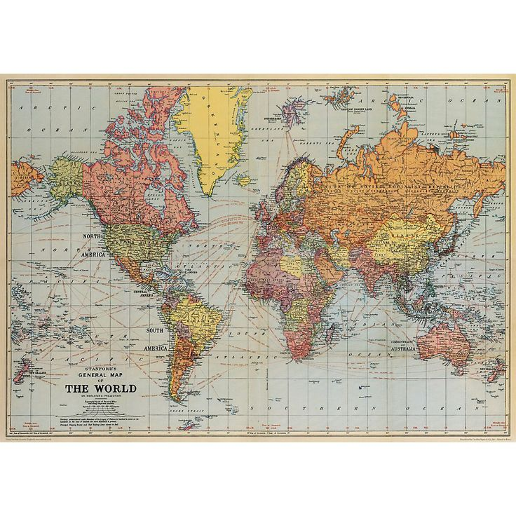 "Cavallini World Map Wrapping Paper  20"" x 28"" With this wonderful vintage world map, you can make sure that the right country is featured on the outside of your gift package. Or frame it as art for an office or in the bedroom of a budding explorer. Printed on Italian acid free paper. From Cavallini & Co. Sheet size - 20"" x 28"" $3.95"