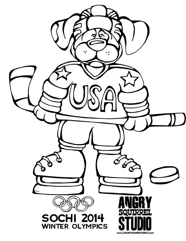 FREE OLYMPIC COLORING PAGE Hockey Dog DOWNLOAD HERE Angrysquirrelstudio