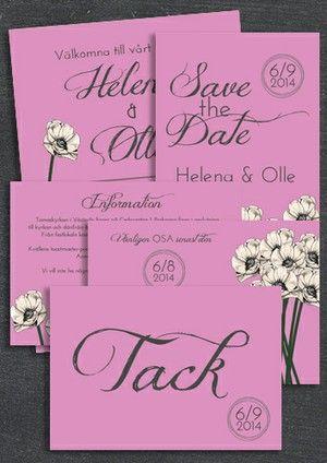 "Paket: ""You make loving fun"" ROSA, SAVE THE DATE, INBJUDAN, TACKKORT, INFOKORT & OSA-KORT (VÄRDE 765 SEK)"
