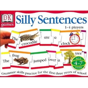 DK's Silly Sentences Game.  It is such a fun way to introduce the concept of sentence structure and the different types of words. The game has three different levels of play for the beginner to more advanced learners using 4, 6 and 8 word sentences. This is great for adjusting the play to where your child is. It works very well for young gifted learners. DK suggested ages 4 to 7.