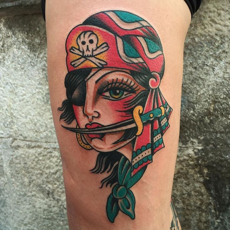 Pirate Girl Tattoo by Christian Otto