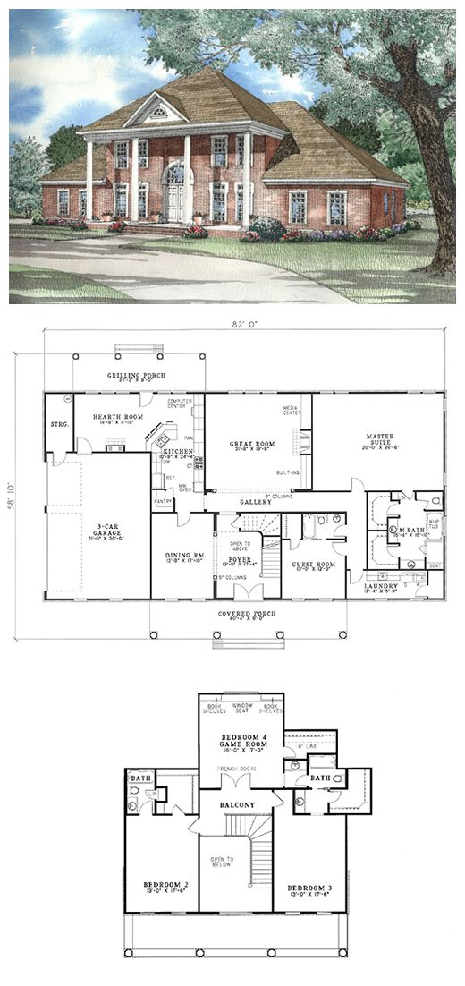 #Plantation #HousePlan 62020 | An angled staircase and open foyer creates a grand welcome. The large master suite will accommodate a sitting area, nursery or even a study. The secondary bedrooms have private baths. A side-load three-car garage has access to a storage room that can double as a workshop. This home is designed with basement, slab and crawlspace foundation options.
