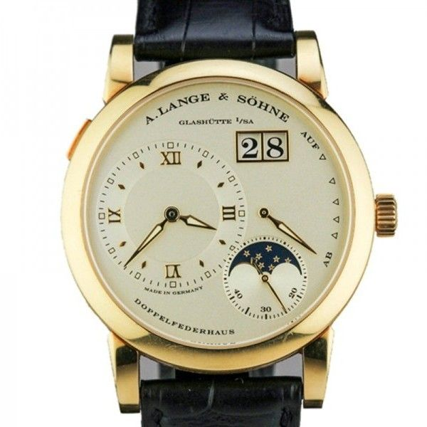 Pre-owned A. Lange & Sohne Lange 1 Moon Phase 18K Yellow Gold Watch... ($25,995) ❤ liked on Polyvore featuring jewelry, watches, pre owned watches, white watches, 18k watches, a lange sohne watches and gold watches