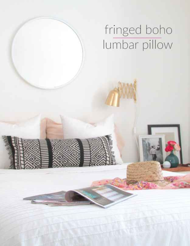 stitch a table runner into a lumbar pillow