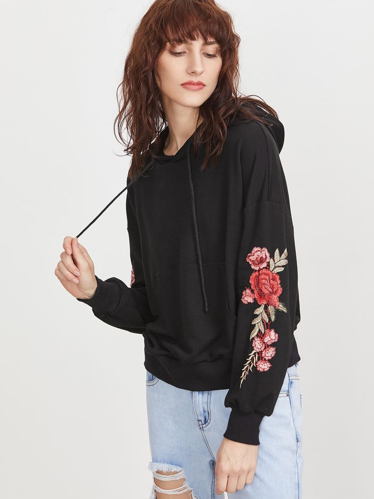 Shop Black Drop Shoulder Embroidered Flower Applique Hoodie online. SheIn offers Black Drop Shoulder Embroidered Flower Applique Hoodie & more to fit your fashionable needs.