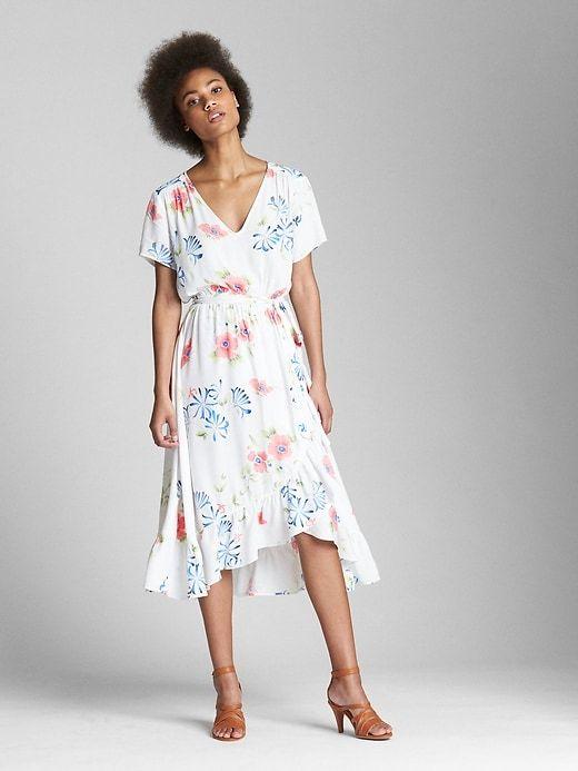 d7e2f3612e0e Gap Womens Wrap Ruffle Midi Dress White Floral Print   Products ...
