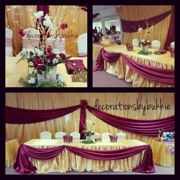 Gold And Burgundy Backdrop For A 50th Birthday Head Table
