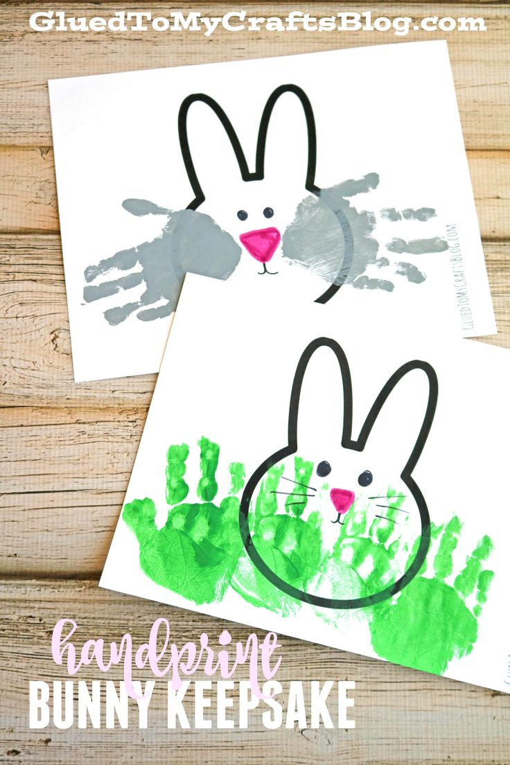Handprint Bunny Keepsake Idea w/free printable template - perfect Easter and/or spring kid craft idea!