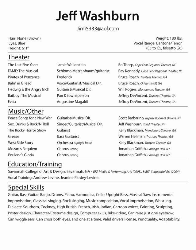 Acting Resume Template For Beginners Lovely Actor Resume Examples