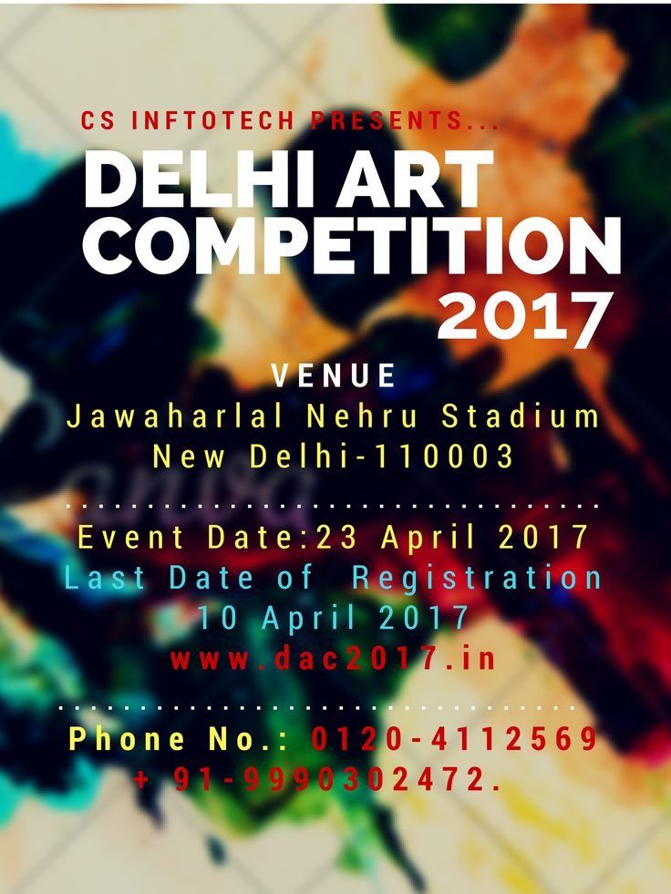 #dac2017 #DelhiartCompetition2017 Dac2017 is going to be held on April 23rd and the competition will start at 9:30 AM. The Venue is Jawaharlal Nehru Stadium, New Delhi. To register visit us at https://www.dac2017.in/