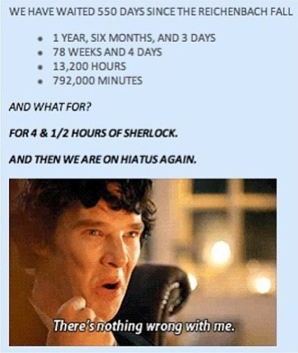 We really are insane // I know... I do wonder how we'll all be affected by the NEXT HIATUS. I can completely see Sherlockians just sitting there staring into space, processing things... No no no, that's not right. We'll all be on tumblr and pinterest making gifs. and observations and crying and flailing, and coming up with Tunalock: The Next Generation.. But what about a year down the line? Are we just going to live like this forever?