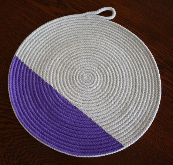 Handmade Rope placemat or trivet. Purple trim. by LibbysLifestyle