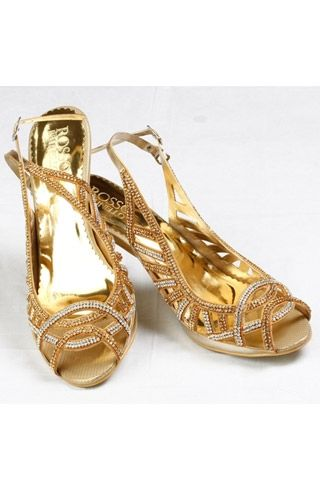 Look every bit the gorgeous bride in gold bejeweled shoes as this Gold and diamante sandals by Rosso Brunello