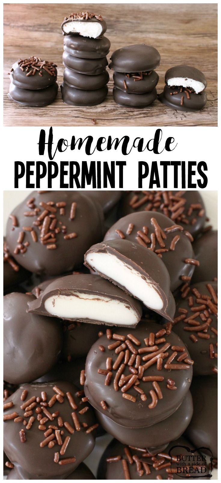 Peppermint Patties made from scratch with a handful of ingredients! Easily combine butter, sugar & peppermint then dip in chocolate for these tasty treats! Easy #mint #chocolate #candy #recipe from Butter With A Side of Bread
