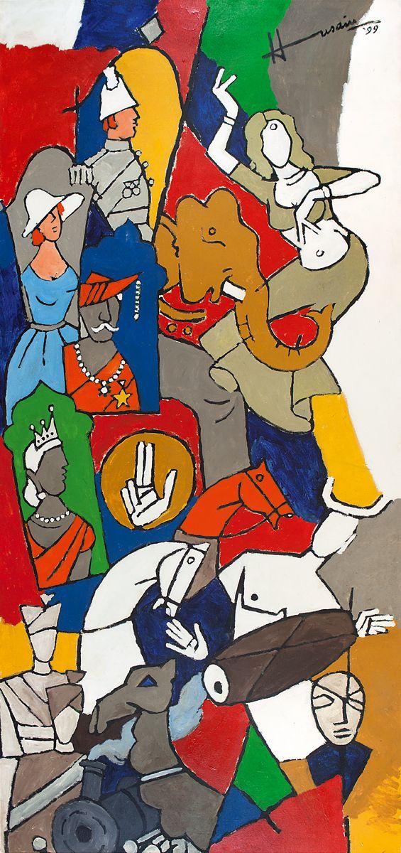 M. F. Husain Medium: Acrylic on canvas Year: 1999 Size: 153 x 71 in.