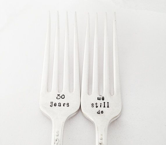 30th Anniversary Gift Personalized Wedding Anniversary Fork Set stamped Silverware 30 year Anniversary Gifts Spoon Tracker
