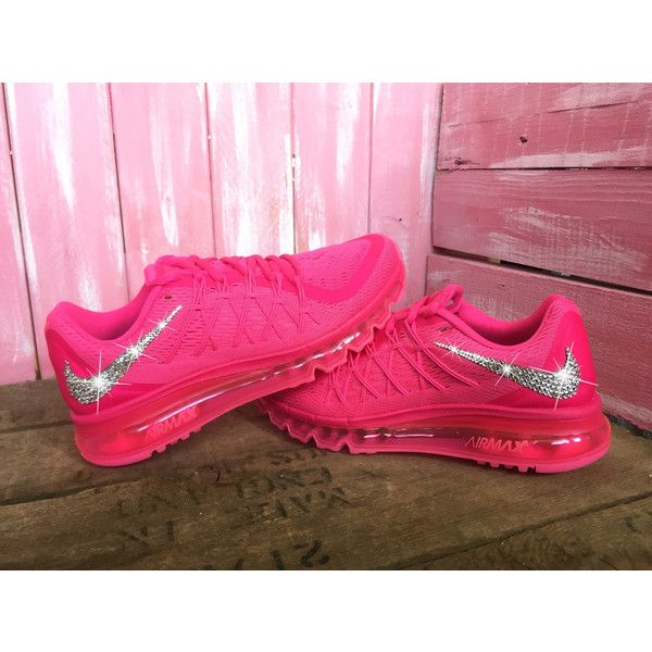 Blinged Swarovski Nike Air Max 2015 Shoes Hot Pink Customized With... ($235) ❤…