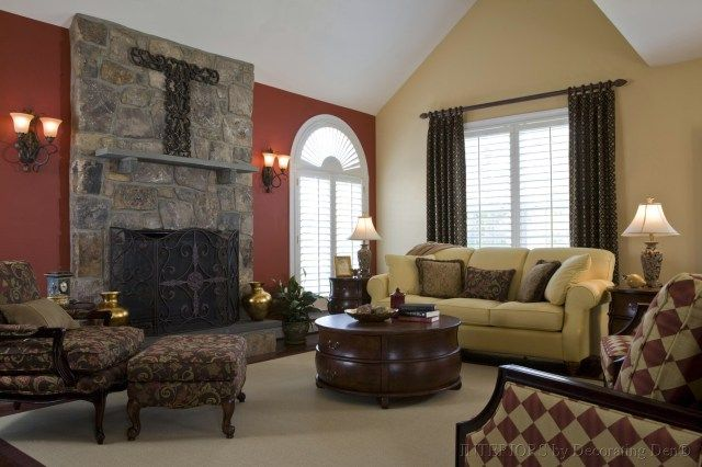 Burgundy Accent Wall Family Room Pinterest Colors