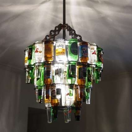 Express Your Love of Alcohol with These Beer Bottle Chandeliers #homedecor trendhunter.com