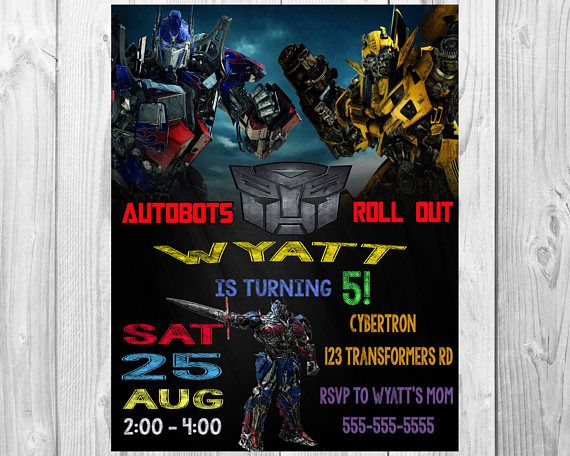 Transformers Birthday Party Invitations Transformers