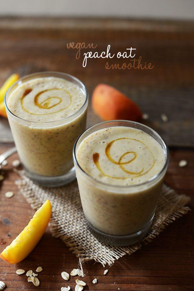 Vegan Peach Oat Smoothie | Minimalist Baker