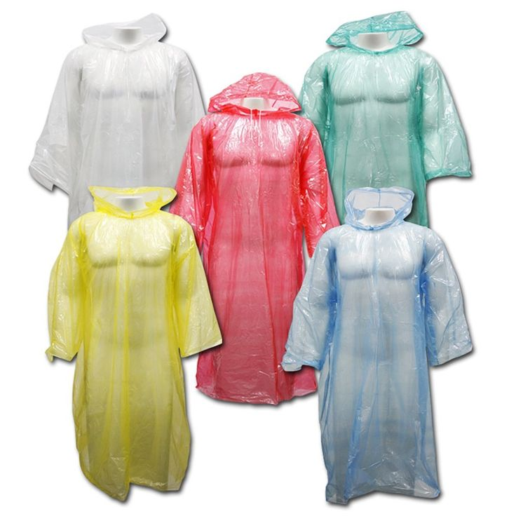 Amazon.com : Outdoor Alchemist 5 Pack Emergency Rain Ponchos with Sleeves and Drawstring Hood, Long Large Plastic for Hiking or Camping, One Size Fits Adult Disposable Rain Coat Gear for Men or Women (Assorted) : Sports & Outdoors