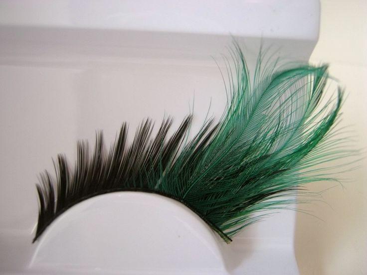 1 pairs Темно зеленый, густые ресницы конец глаз удлиненные перья преувеличены гример накладные ресницы необходимо новый YM117 купить на AliExpress