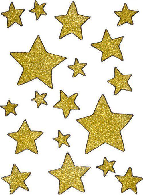 Decoración ventanas estrellas doradas Navidad